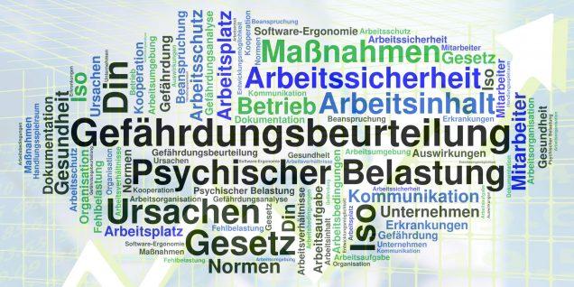 Gefährdungsbeurteilung psychischer Belastung - Wortwolke